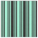 [ Thumbnail: Aquamarine & Black Colored Lined Pattern Fabric ]