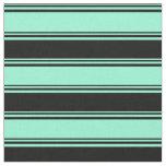 [ Thumbnail: Aquamarine & Black Colored Lined/Striped Pattern Fabric ]