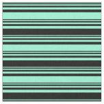[ Thumbnail: Aquamarine & Black Colored Striped/Lined Pattern Fabric ]