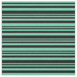 [ Thumbnail: Aquamarine & Black Colored Stripes Pattern Fabric ]