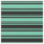 [ Thumbnail: Aquamarine & Black Lined/Striped Pattern Fabric ]
