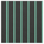[ Thumbnail: Aquamarine & Black Lines Fabric ]