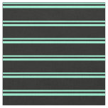[ Thumbnail: Aquamarine & Black Lines/Stripes Pattern Fabric ]