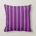 [ Thumbnail: Aquamarine, Black, Mint Cream, and Purple Colored Throw Pillow ]