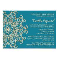 AQUAMARINE BLUE  and Gold Indian Bridal Shower 5x7 Paper Invitation Card (<em>$2.16</em>)
