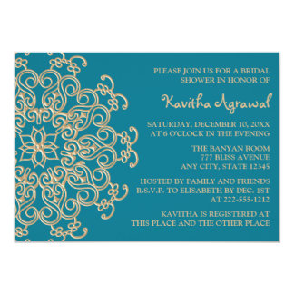 AQUAMARINE BLUE  and Gold Indian Bridal Shower 5x7 Paper Invitation Card