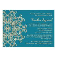 AQUAMARINE BLUE  and Gold Indian Bridal Shower Invitations (<em>$2.05</em>)