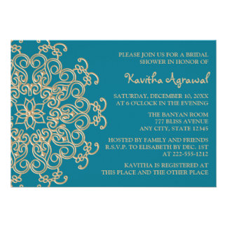 AQUAMARINE BLUE  and Gold Indian Bridal Shower Invitations