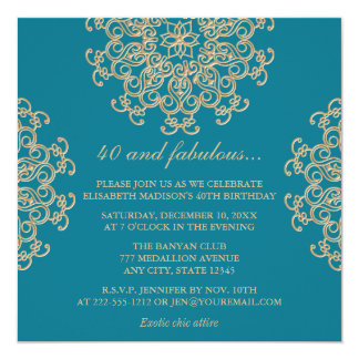 AQUAMARINE BLUE AND GOLD INDIAN INSPIRED BIRTHDAY CARD