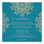 AQUAMARINE BLUE AND GOLD INDIAN INSPIRED BIRTHDAY 5.25X5.25 SQUARE PAPER INVITATION CARD