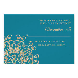 AQUAMARINE BLUE AND GOLD INDIAN RESPONSE RSVP CARD