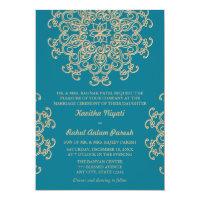 AQUAMARINE BLUE AND GOLD INDIAN STYLE WEDDING 5X7 PAPER INVITATION CARD (<em>$2.16</em>)