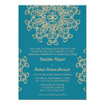 AQUAMARINE BLUE AND GOLD INDIAN STYLE WEDDING 5X7 PAPER INVITATION CARD