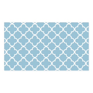 Aquamarine Blue and White Quatrefoil Moroccan Patt Double-Sided Standard Business Cards (Pack Of 100)