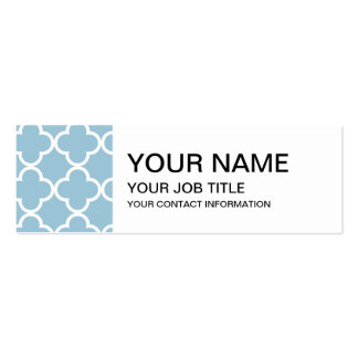 Aquamarine Blue and White Quatrefoil Moroccan Patt Double-Sided Mini Business Cards (Pack Of 20)