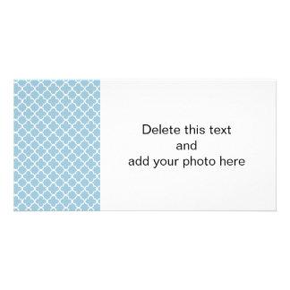 Aquamarine Blue and White Quatrefoil Moroccan Patt Card