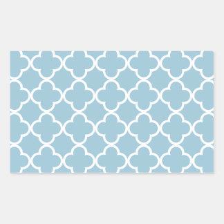 Aquamarine Blue and White Quatrefoil Moroccan Patt Rectangular Sticker