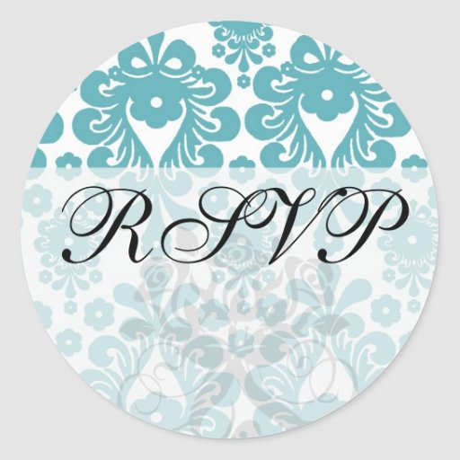 aquamarine blue and white swirl damask pattern classic round sticker