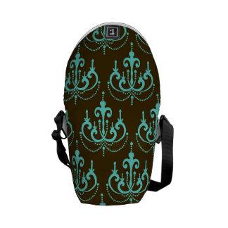 aquamarine blue chandelier damask on brown courier bag