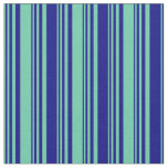 [ Thumbnail: Aquamarine & Blue Colored Lined/Striped Pattern Fabric ]