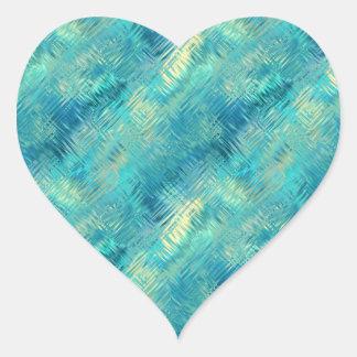 Aquamarine Blue Crystal Gel Texture Heart Sticker