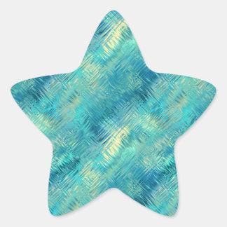 Aquamarine Blue Crystal Gel Texture Star Sticker