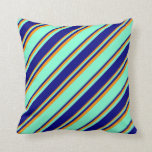 [ Thumbnail: Aquamarine, Blue & Dark Orange Colored Lines Throw Pillow ]