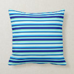 [ Thumbnail: Aquamarine, Blue, Deep Sky Blue, and Light Cyan Throw Pillow ]