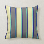 [ Thumbnail: Aquamarine, Blue, Dim Gray, Pale Goldenrod & White Throw Pillow ]