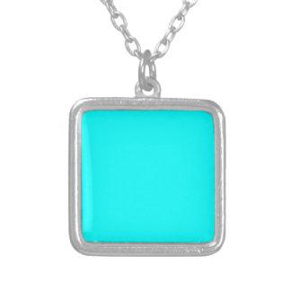 Aquamarine Blue  Elegant Fashion Color Square Pendant Necklace