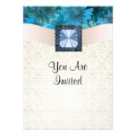 Aquamarine blue floral and cream damask custom announcements