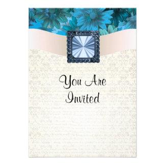 Aquamarine blue floral and cream damask custom announcements