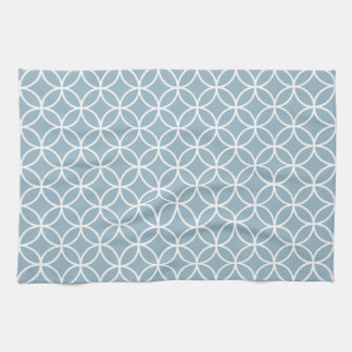 Aquamarine Blue Geometric Kitchen Towels