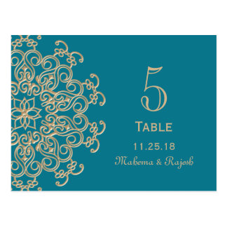 AQUAMARINE BLUE GOLD INDIAN WEDDING TABLE NUMBER POSTCARD
