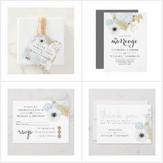 Aquamarine Blue Gold White Floral Wedding Set