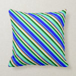 [ Thumbnail: Aquamarine, Blue, Goldenrod, White, and Dark Green Throw Pillow ]