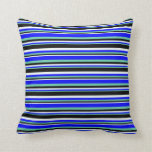 [ Thumbnail: Aquamarine, Blue, Mint Cream & Black Lines Pillow ]