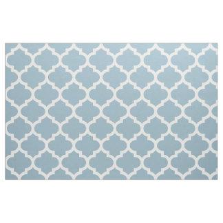 Aquamarine Blue Moroccan Quatrefoil Trellis Fabric