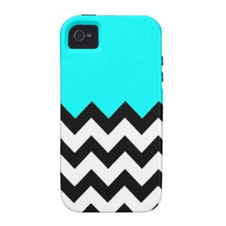 Aquamarine-Blue-On-Black-&-White-Zigzag-Pattern Case For The iPhone 4