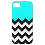 Aquamarine-Blue-On-Black-&-White-Zigzag-Pattern iPhone SE/5/5s Case