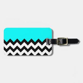 Aquamarine-Blue-On-Black-&-White-Zigzag-Pattern Tags For Luggage