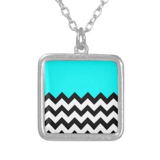 Aquamarine-Blue-On-Black-&-White-Zigzag-Pattern Square Pendant Necklace
