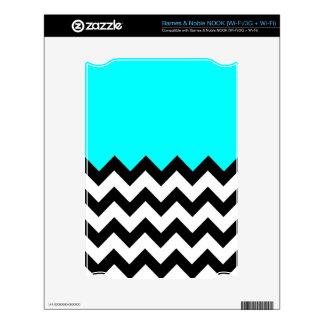 Aquamarine-Blue-On-Black-&-White-Zigzag-Pattern Skins For The NOOK