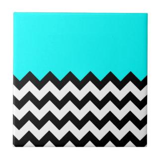 Aquamarine-Blue-On-Black-&-White-Zigzag-Pattern Tile