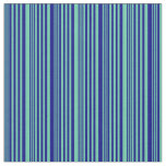 [ Thumbnail: Aquamarine & Blue Pattern of Stripes Fabric ]