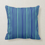 [ Thumbnail: Aquamarine & Blue Pattern of Stripes Throw Pillow ]