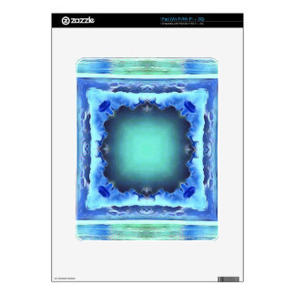 Aquamarine Blue Personalizable Framed Pattern Skin For The iPad
