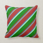 [ Thumbnail: Aquamarine, Blue, Red, Green & Beige Colored Throw Pillow ]
