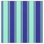 [ Thumbnail: Aquamarine & Blue Stripes Pattern Fabric ]