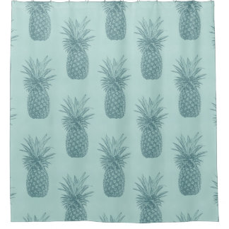 aquamarine blue teal tropical pineapple pattern shower curtain